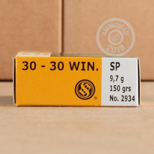 A photograph of 500 rounds of 150 grain 30-30 Winchester ammo with a soft point bullet for sale.