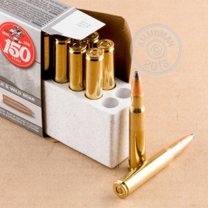 A photograph detailing the 30.06 Springfield ammo with Power-Point (PP) bullets made by Winchester.