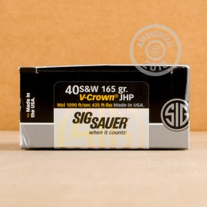 Photo of .40 Smith & Wesson JHP ammo by SIG for sale at AmmoMan.com.