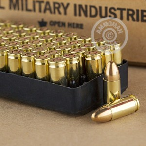 A photograph detailing the 9mm Luger ammo with FMJ bullets made by Israeli Military Industries.