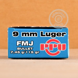 A photograph of 2000 rounds of 115 grain 9mm Luger ammo with a FMJ bullet for sale.