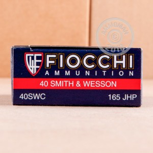 A photograph detailing the .40 Smith & Wesson ammo with JHP bullets made by Fiocchi.