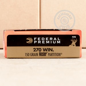 Image of Federal 270 Winchester rifle ammunition.