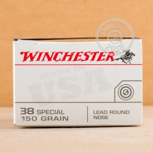 A photograph of 50 rounds of 150 grain 38 Special ammo with a Lead Round Nose (LRN) bullet for sale.