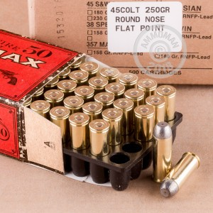A photograph detailing the .45 COLT ammo with Round Nose bullets made by Ultramax.