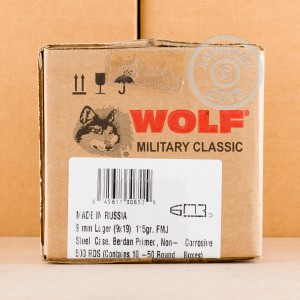 A photo of a box of Wolf ammo in 9mm Luger.