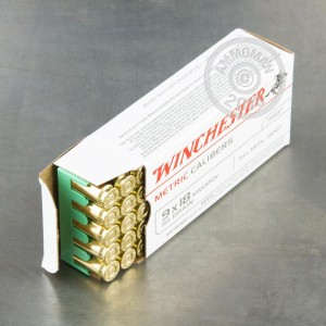 An image of 9x18 Makarov ammo made by Winchester at AmmoMan.com.