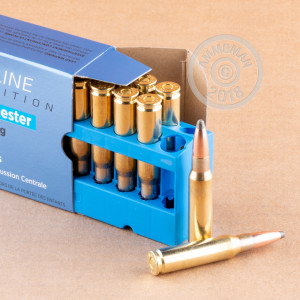 A photograph detailing the 308 / 7.62x51 ammo with soft point bullets made by Prvi Partizan.