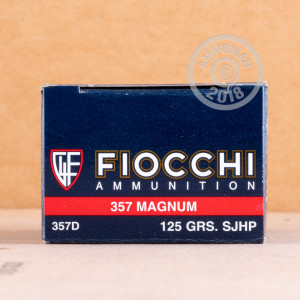 A photograph detailing the 357 Magnum ammo with semi-jacketed hollow-Point (SJHP) bullets made by Fiocchi.