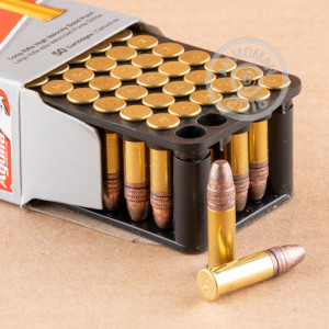 rounds of .22 Long Rifle ammo with copper plated soft point bullets made by Aguila.