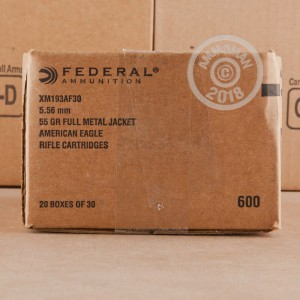 Image of Federal 5.56x45mm rifle ammunition.