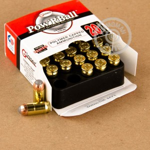A photograph of 20 rounds of 70 grain .380 Auto ammo with a JHP bullet for sale.