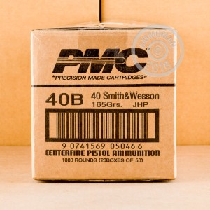 A photo of a box of PMC ammo in .40 Smith & Wesson.