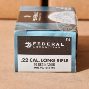 rounds of .22 Long Rifle ammo with Lead Round Nose (LRN) bullets made by Federal.