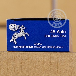 Image of .45 Automatic ammo by Colt that's ideal for training at the range.