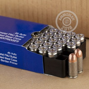 A photo of a box of Colt ammo in .45 Automatic.