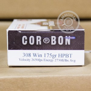 A photograph detailing the 308 / 7.62x51 ammo with Hollow-Point Boat Tail (HP-BT) bullets made by Corbon.