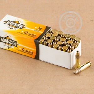 rounds of .22 Long Rifle ammo with HP bullets made by Armscor.
