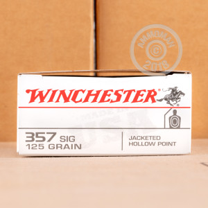A photo of a box of Winchester ammo in 357 SIG.