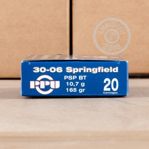 A photo of a box of Prvi Partizan ammo in 30.06 Springfield.