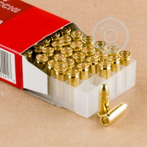 A photograph detailing the .25 ACP ammo with FMJ bullets made by Fiocchi.