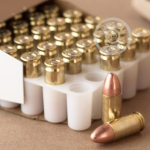 Photo of 9mm Luger FMJ ammo by Blazer Brass for sale at AmmoMan.com.