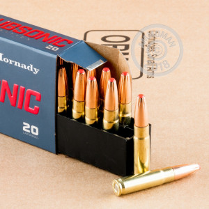 A photograph detailing the 300 AAC Blackout ammo with Polymer Tipped bullets made by Hornady.