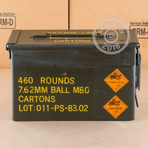 A photograph detailing the bulk 308 / 7.62x51 ammo with FMJ bullets made by PMC.
