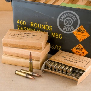 A photograph of 460 rounds of 146 grain 308 / 7.62x51 ammo with a FMJ bullet for sale.
