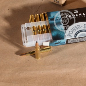 A photograph detailing the 30.06 Springfield ammo with soft point bullets made by Federal.