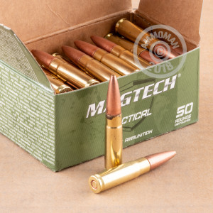 A photograph detailing the 300 AAC Blackout ammo with Open Tip Match bullets made by Magtech.