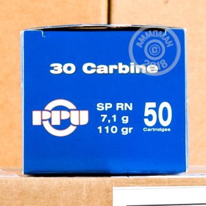A photo of a box of Prvi Partizan ammo in .30 Carbine.