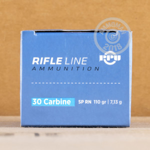 A photograph detailing the .30 Carbine ammo with soft point bullets made by Prvi Partizan.