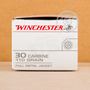 Image of .30 Carbine ammo by Winchester that's ideal for training at the range.