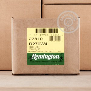 Image of 270 Winchester ammo by Remington that's ideal for whitetail hunting.
