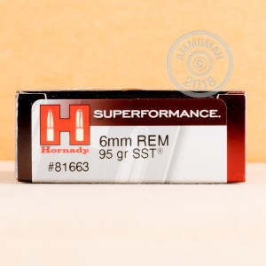Image of 6mm Remington ammo by Hornady that's ideal for whitetail hunting.