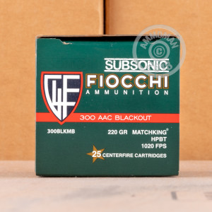 Photo of 300 AAC Blackout Hollow-Point Boat Tail (HP-BT) ammo by Fiocchi for sale.
