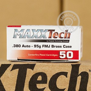 An image of .380 Auto ammo made by MaxxTech at AmmoMan.com.