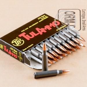 A photograph detailing the 223 Remington ammo with HP bullets made by Tula Cartridge Works.