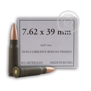 A photograph of 1000 rounds of 124 grain 7.62 x 39 ammo with a FMJ bullet for sale.