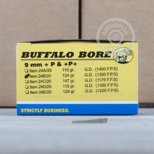 Photo of 9mm Luger JHP ammo by Buffalo Bore for sale at AmmoMan.com.