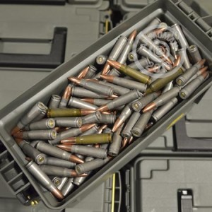 A photo of a box of Mixed ammo in 7.62 x 39 that's often used for training at the range.