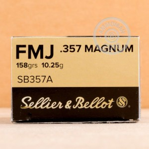 A photo of a box of Sellier & Bellot ammo in 357 Magnum.