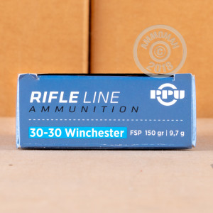 A photograph of 500 rounds of 150 grain 30-30 Winchester ammo with a flat soft point bullet for sale.