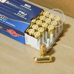 A photograph detailing the .45 Automatic ammo with FMJ bullets made by Prvi Partizan.