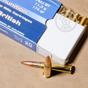 A photograph of 20 rounds of 174 grain 303 British ammo with a FMJ-BT bullet for sale.