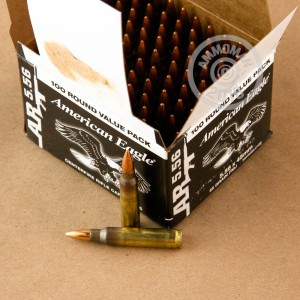 A photograph of 500 rounds of 55 grain 5.56x45mm ammo with a FMJ-BT bullet for sale.
