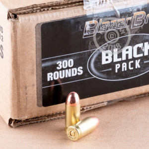 Image detailing the brass case and boxer primers on 300 rounds of Blazer Brass ammunition.