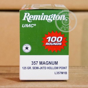 A photograph of 100 rounds of 125 grain 357 Magnum ammo with a semi-jacketed hollow-Point (SJHP) bullet for sale.