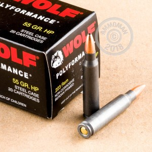 Image of 223 Remington ammo by Wolf that's ideal for hunting varmint sized game, training at the range.
